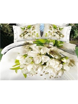 Graceful White Flowers Reactive Printing 100% Cotton 4-Piece Duvet Cover Sets