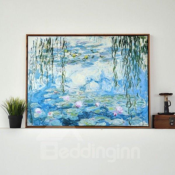 Modern Replica Art Monet Waterlily Oil Painting 1-Panel Framed Wall Art Print