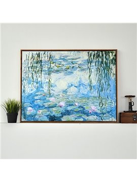 Modern Replica Art Monet Waterlily Oil Painting 1-Panel Framed Wall Art Print