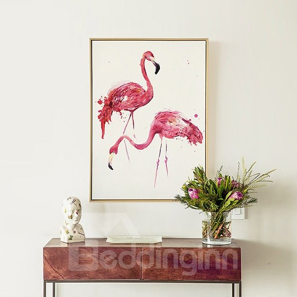 Unique Flamingo Pattern Framed 1-Panel Wall Art Print