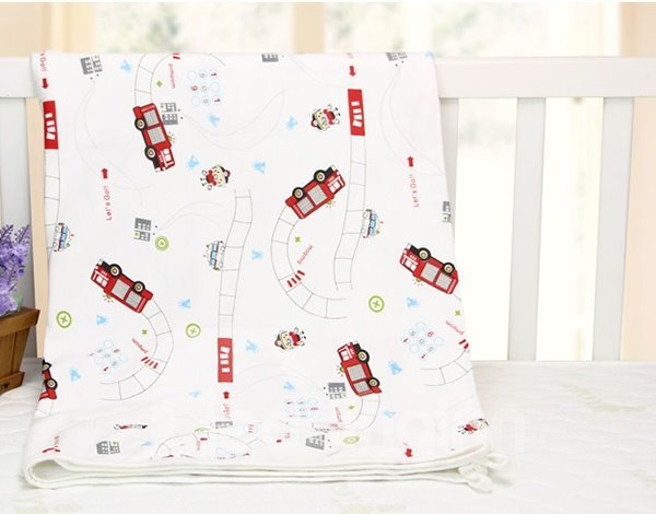 Vivid Fire Truck Pattern 100% Cotton Baby Crib Sheet