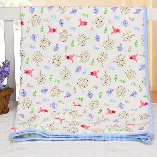 Bird and Rabbit Pattern 100% Cotton Baby Crib Sheet