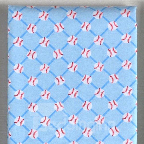 100% Cotton Blue Volleyball Pattern Baby Crib Sheet