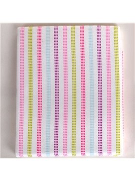 100% Cotton Simple Style Pink Stripe Pattern Baby Crib Sheet