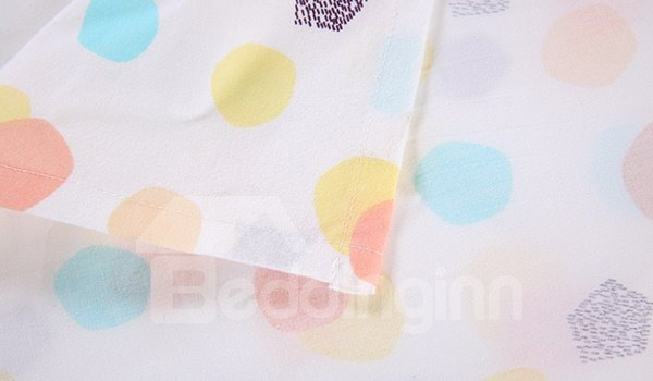 Lively Colorful Polka Dot Pattern Cotton Baby Crib Sheet