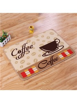 Wonderful Coffee Pattern Anti-Slipping Rugs 1 Set