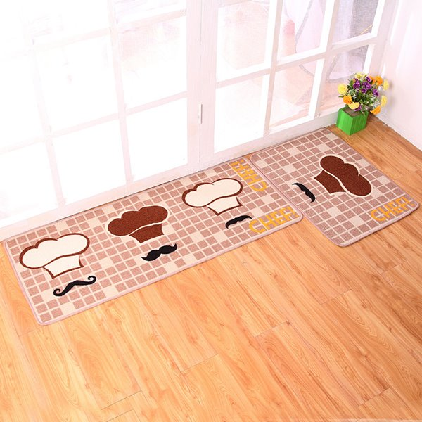 Creative Chef Hat Pattern Kitchen Rugs 1 Set