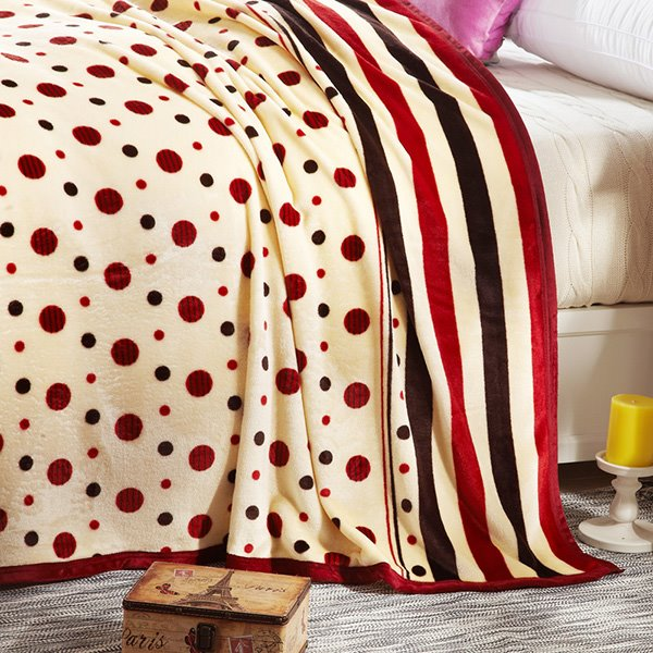 Polka Dots Print Muted Beige Bed Blanket