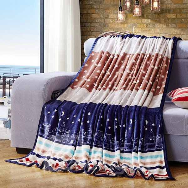 City Night Stars and Moon Print Blanket