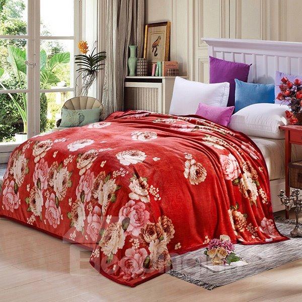 Beautiful Peonies Print Bright Red Blanket