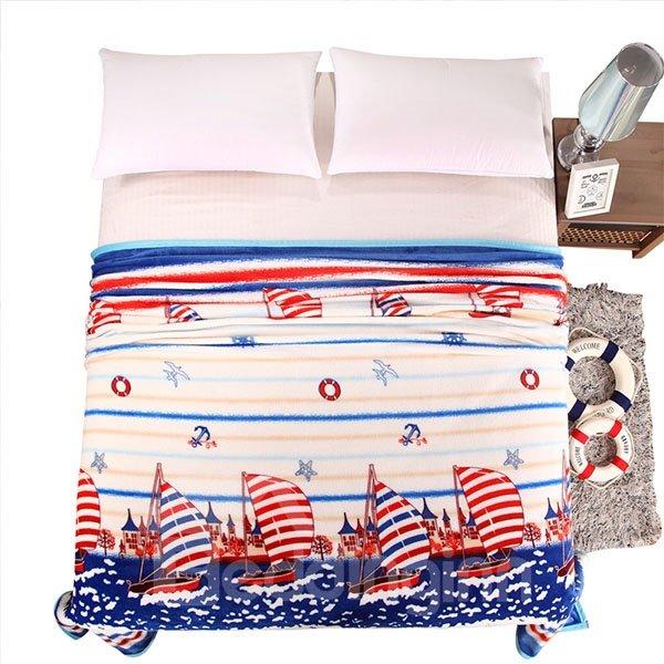Sailing Boat on Sea Print Bed Blanket
