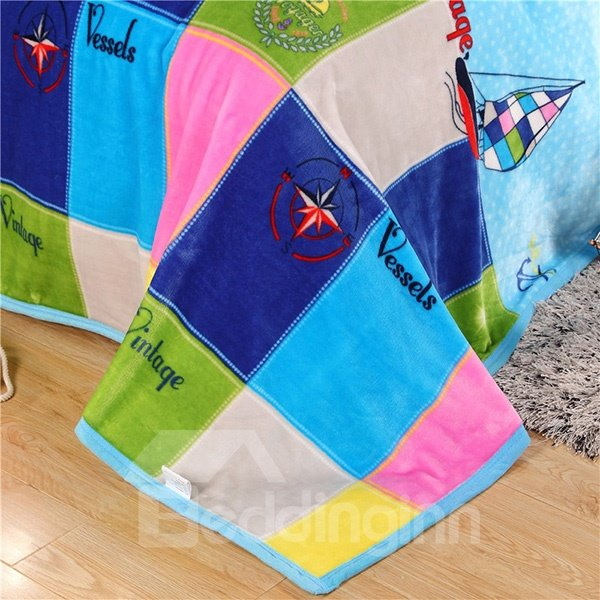 Fancy Sailing Boat Colorful Plaid Print Blue Blanket