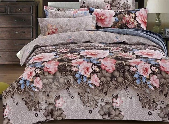 Charming Pink Flowers Reactive Printing 4-Piece Cotton Duvet Cover Sets