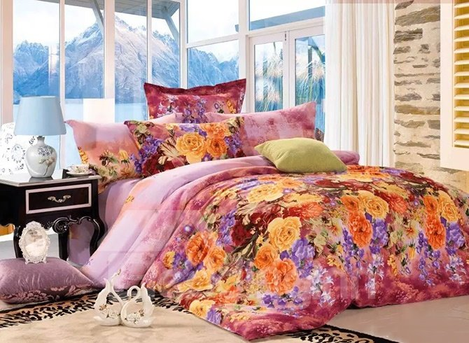 Muted Yellow And Purple Flowers Print Cotton 4-Piece Duvet Cover Sets