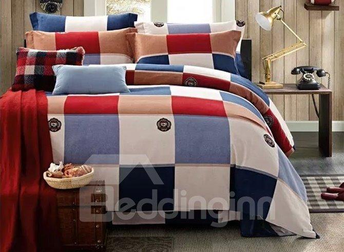European Style Gingham Plaid 4-Piece Duvet Cover Sets