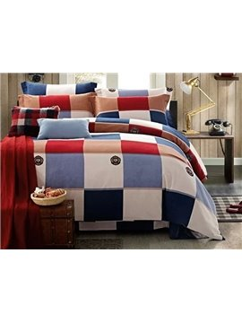 European Style Gingham Plaid 4-Piece Duvet Cover Sets