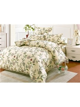 Fresh Pastoral Style Green Vine Print 4-Piece Cotton Duvet Cover Sets