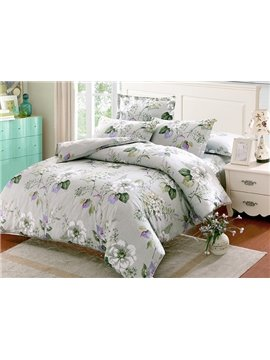 Fresh White Flowers Green Leaves Print Gray 4-Piece Cotton Duvet Cover Sets
