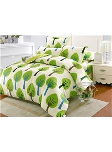 Fashionable Green Tree Pattern Kids 100% Cotton 4-Piece Duvet Cover Sets