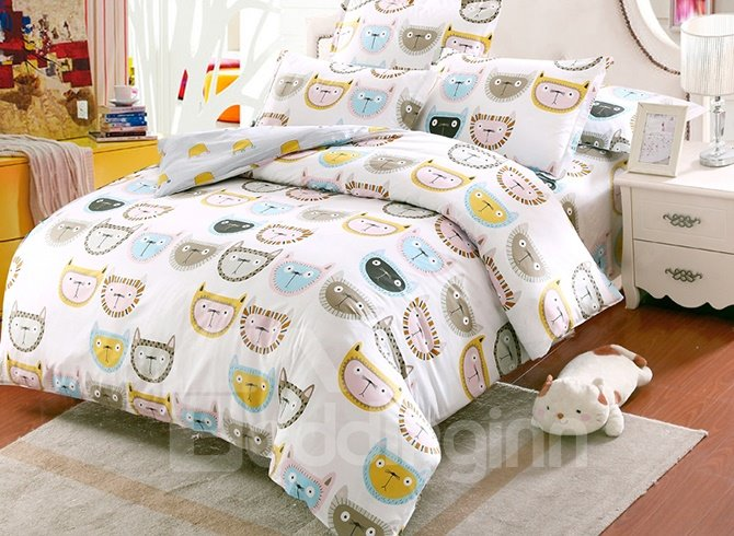 Adorable Cat Face Pattern Kids 100% Cotton 4-Piece Duvet Cover Sets
