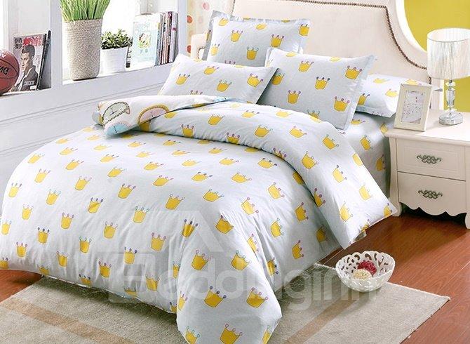 Cute Little Crown Pattern Kids 100% Cotton 4-Piece Duvet Cover Sets