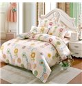 Elegant Colorful Flower Pattern Kids Cotton 4-Piece Duvet Cover Sets