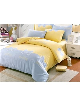 Sweet Bowknot Print Kids Cotton 4-Piece Duvet Cover Sets