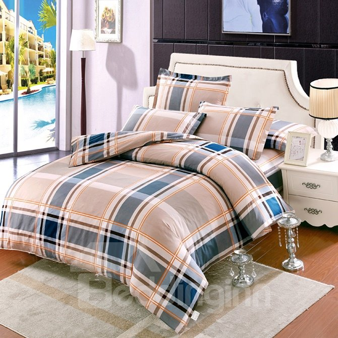Chic Plaid Pattern Kids Cotton 4-Piece Duvet Cover Sets