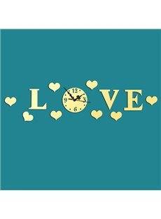 Creative Love Design Mirror Acrylic Sticker Wall Clock