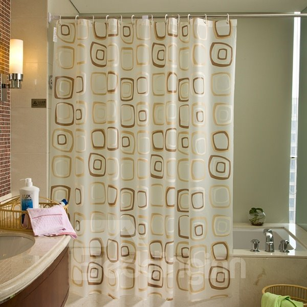 Contemporary Coffee Square Shape Pattern PEVA Shower Curtain