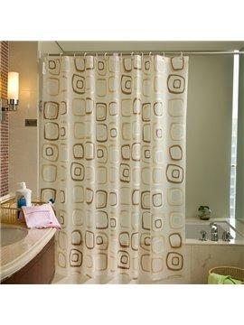 Contemporary Coffee Square Shape Pattern PEVA Shower Curtain