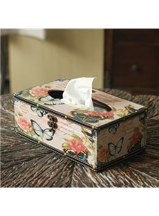Gorgeous Vintage Roses and Butterfly Pattern Tissue Box