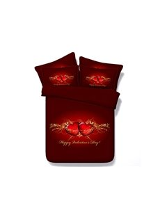 Happy Valentine's Day Red Heart Print 5-Piece Comforter Sets
