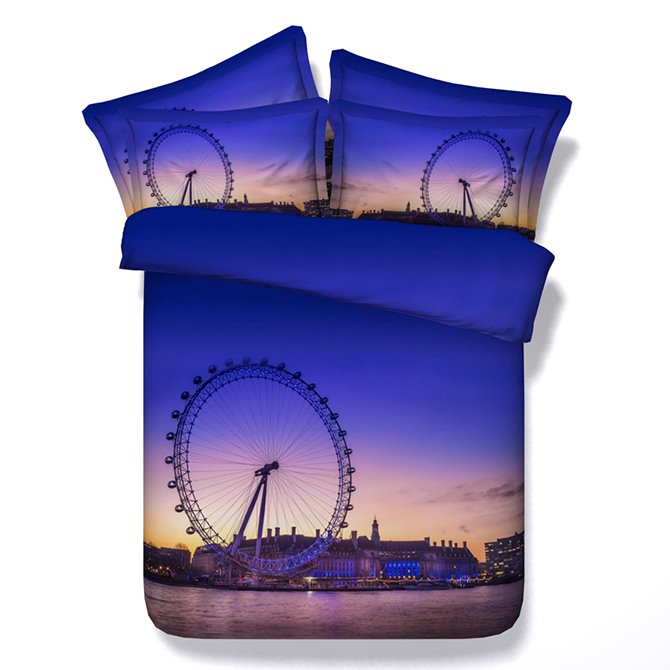 Big Ferris Wheel Print 5-Piece Purple Comforter Sets