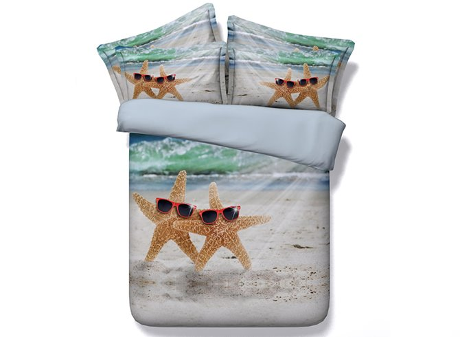 Creative Starfish Wearing Sun glass Print 5-Piece Comforter Sets