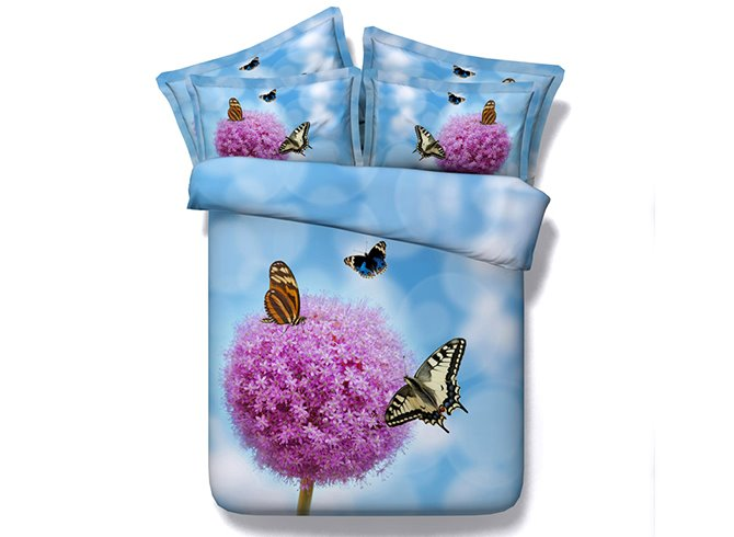 Beautiful Pink Flowers and Butterflies Print Blue 5-Piece Comforter Sets