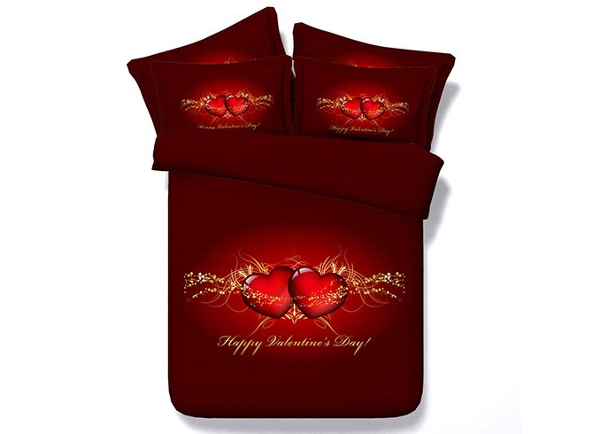 Romantic Red Heart Print 4-Piece Duvet Cover Sets for Lover