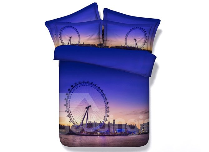 Ferris Wheel Print 4-Piece Purple Duvet Cover Sets