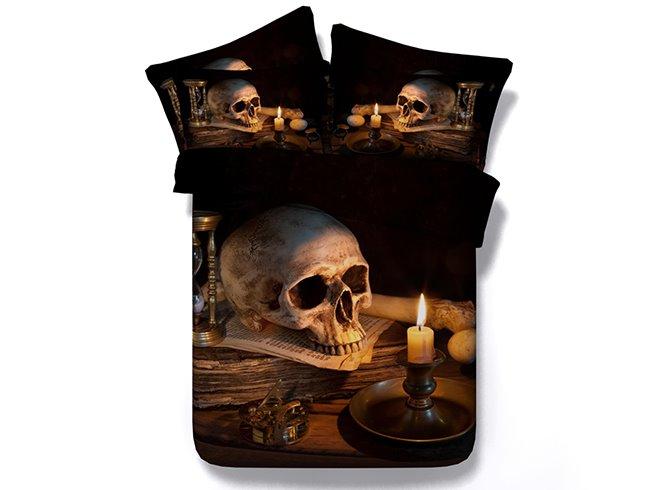 Chic Skull Print 4-Piece Duvet Cover Sets