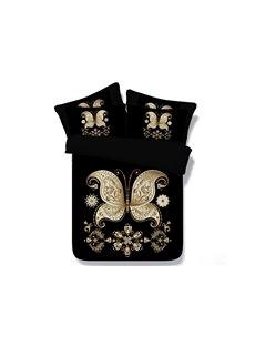 Golden Butterfly Print Black 4-Piece Duvet Cover Sets