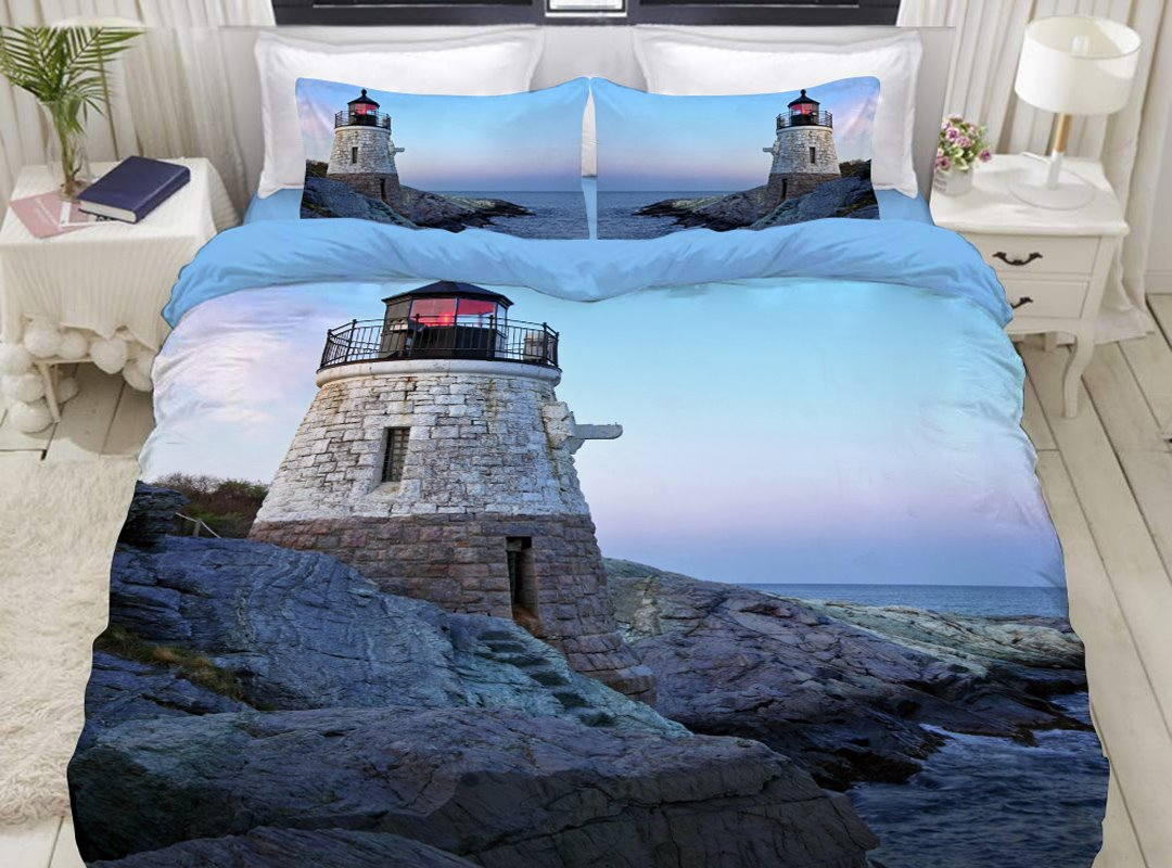 Lighthouse Sea Scenery Print Blue 4-Piece Duvet Cover Sets