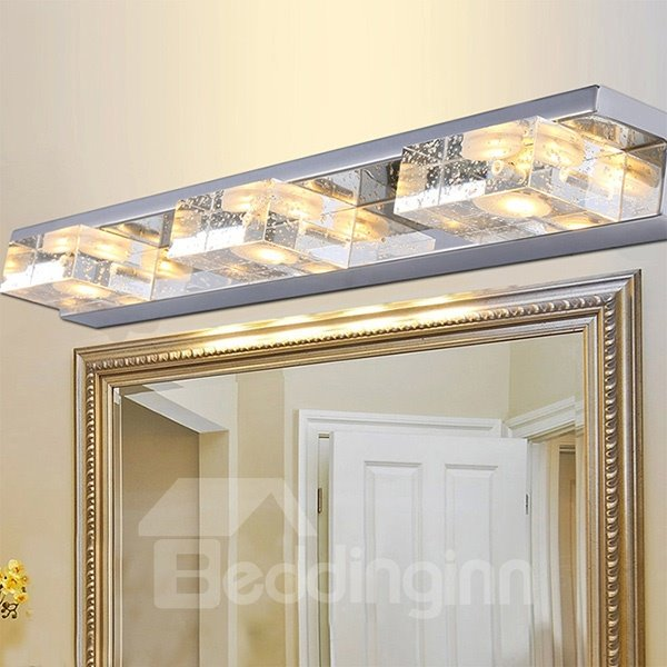 Modern Stainless Steel Bathroom Mirror 3-Light LED Wall Light