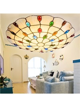 Stunning Peacock Tail Design Tiffany Bedroom Living Room Flush Mount