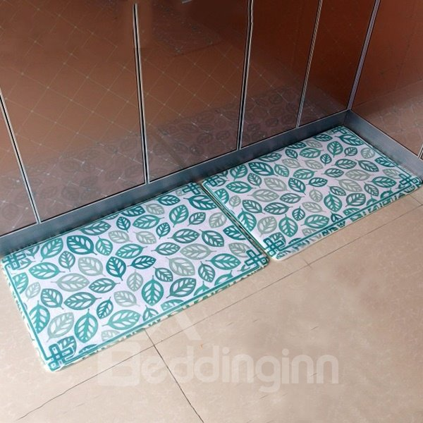Wonderful Green Leaf Pattern Flannel Doormat