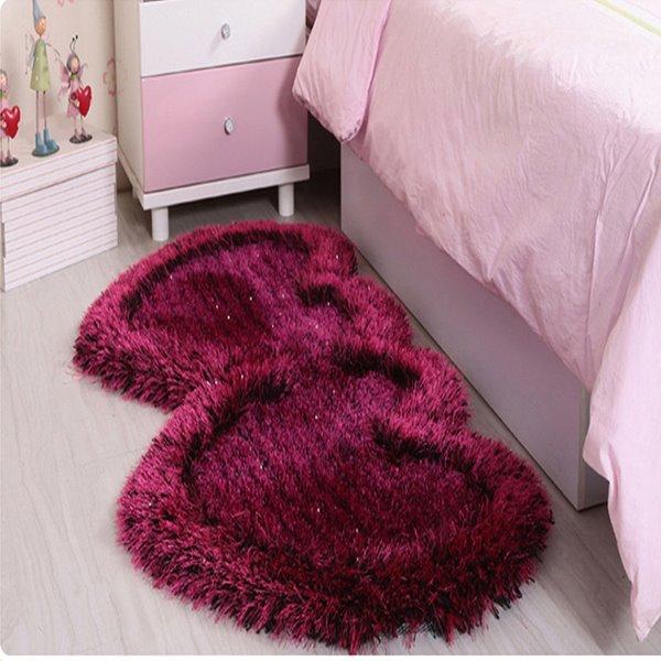 Romantic Double Heart Design Multi-Color Bedroom Kidsroom Area Rug