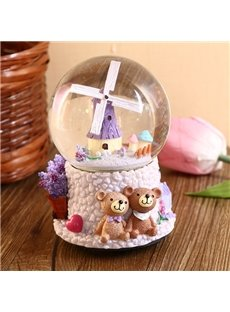 Wonderful Windmill Crystal Ball Resin Desktop Decoration