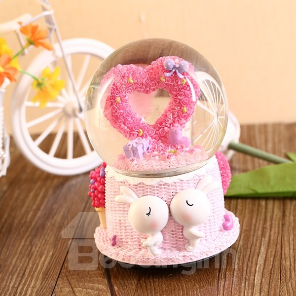 Romantic Heart Crystal Ball Resin Desktop Decoration