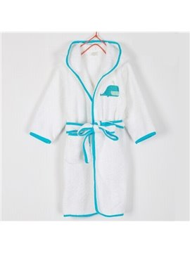 Purified Cotton Blue Whale Embroideried Bath Essential Kids Robe