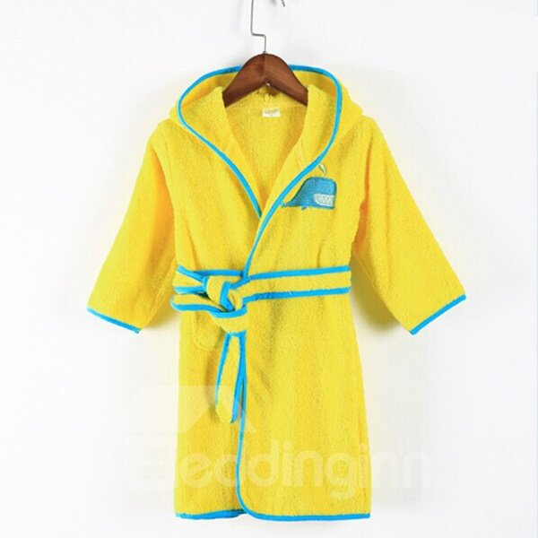 Lemon Yellow Blue Whale Embroideried Bath Essential Kids Robe