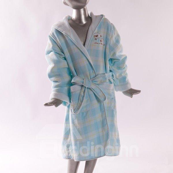 Lovely Plaid Pattern Purified Cotton Kids Bath Robe